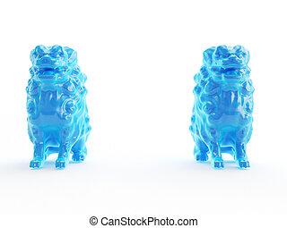 standbeeld, leeuw, blauwe , abstract