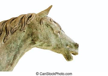 standbeeld, paarde, witte , vrijstaand, achtergrond