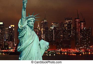 standbeeld, stad, york, vrijheid, nieuw
