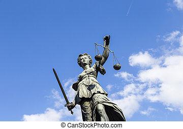 standbeeld, van, dame gerechtigheid, in, frankfurt, duitsland