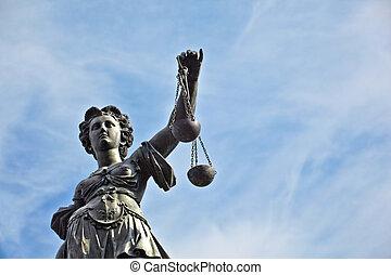 standbeeld, van, dame gerechtigheid, voor, de, romer, in,...