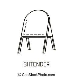 stander, icona, shtender, pubblicità, isolato, stare in piedi, o, esterno, cartello