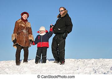 stander, sneeuw, gezin, winter