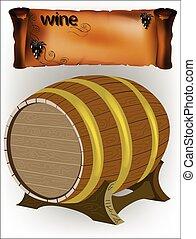 stander, vat, wijn druiven
