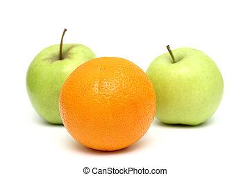 standin, foule, oranges, pommes, orange, mélangé, dehors