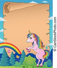 standing, 1, tema, pergamena, unicorno