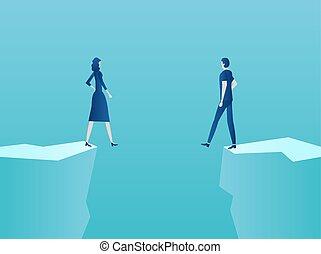 standing, abisso, donna, coppia, bordo, vettore, uomo