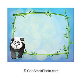 standing, accanto, cornice, bambù, panda