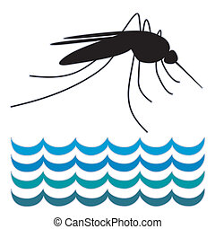 standing, acqua, zanzara