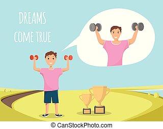 standing, addestramento, esterno, bambino, bodybuilding, felice