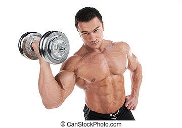 standing, addestramento, sopra, isolato, muscolare, fondo, ritratto, sexy, bianco, dumbbell., uomo