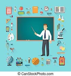 standing, addestramento, vettore, school., libro scolastico, ecc., -, indietro, illustrazione, icons., borsa, scuola, bastone, lavagna, fronte, provviste, educazione, puntatore, insegnante, aiuti, stazionario