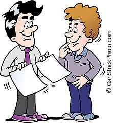 standing, affari, due, illustrazione, dall'aspetto, carte,...