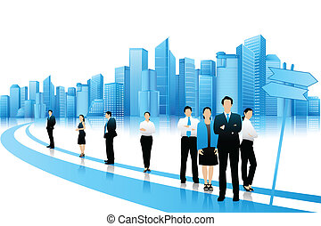 standing, affari, strada, persone