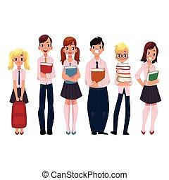 standing, alunni, bambini, studenti, libri scuola