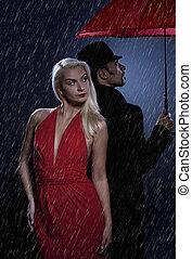 standing, amore, coppia, ombrello, sotto