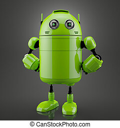 Standing android. Rendered over black background