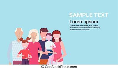 standing, appartamento, assemblea, concetto, fondo, famiglia, spazio, nonni, multi-generation, blu, insieme, genitori, caratteri, ritratto, orizzontale, copia, bambini