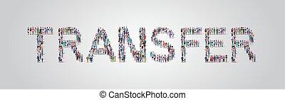 standing, appartamento, assemblea, concetto, parola, folla, persone, trasferimento, personale, differente, insieme, miscelare, forma, corsa, comunità, gruppo, orizzontale, lavorante, occupazione