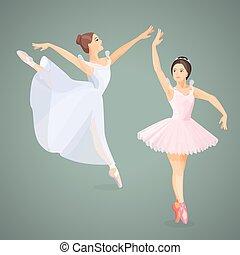 standing, appartamento, ballerini balletto, atteggiarsi, tre, giovane, disegno