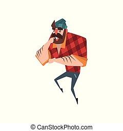 standing, appartamento, barbuto, checkered, lumberjack., colorito, thinking., vestito, camicia, jeans, vettore, disegno, foresta, hat., tagliaboschi, forte, cartone animato, rosso, uomo