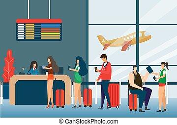 standing, appartamento, concetto, gruppo, turista, passeggeri, passeggeri, aeroporto, viaggiare, contatore, illustrazione, coda, miscelare, partenze, vettore, asse, corsa, selezione, assegno, design.