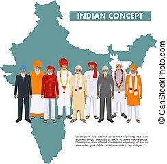 standing, appartamento, differente, vettore, gruppo, illustration., famiglia, persone, nazionale, india, insieme, tradizionale, mappa, indiano, adulto, fondo, sociale, anziano, concept., style., vestiti
