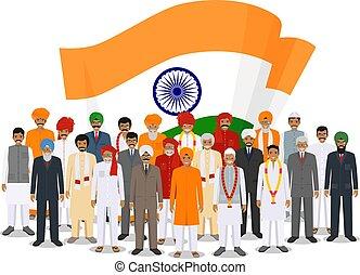standing, appartamento, differente, vettore, gruppo, illustration., persone, nazionale, insieme, tradizionale, bandiera, indiano, adulto, fondo, sociale, anziano, concept., style., vestiti