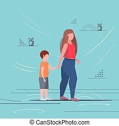 standing, appartamento, donna, concetto, stile di vita, malsano, obeso, mani, sovrappeso, grasso, figlio, lunghezza, pieno, detenere, insieme, tenere bambino, divertimento, obesità, madre