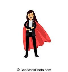 standing, appartamento, donna, superhero, affari, ansimare, carattere, braccia, vettore, mantello, suit., direzione, disegno, femmina annerisce, cartone animato, achievement., rosso, crossed.