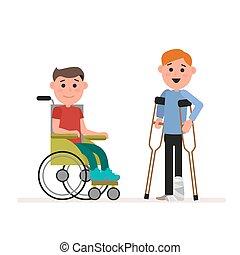 standing, appartamento, necessità, eps10., wheelchair., seduta, ragazzo, carattere, isolato, illustrazione, o, handicappato, fondo., vettore, bambino, children., bianco, crutches., bambini, speciale