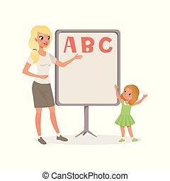 standing, appartamento, poco, abc, alphabet., felice, lavagna, prossimo, insegnante, vettore, disegno, cultura, kindergarten., lezione, letters., ragazza, capretto