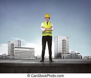 standing, architetto, tetto, giovane, asiatico
