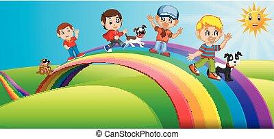 standing, arcobaleno, bambini, sopra, cani, felice