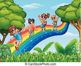 standing, arcobaleno, sopra, bambini, felice