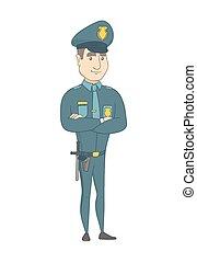 standing, arms., piegato, caucasico, poliziotto