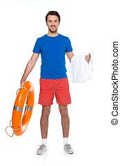 standing, asciugamano, presa a terra, giovane, casuale, sorridere., fondo, bianco, boa, anello, uomo