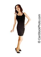 Standing Asian woman.