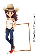 standing, asse, fronte, ragazza, cappello, vuoto