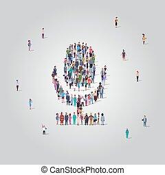 standing, assemblea, concetto, gruppo, folla, persone, media, mic, microfono, comunità, sistema, differente, forma, pieno, insieme, sociale, lunghezza, audio, tecnologia, personale, occupazione
