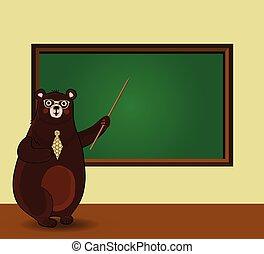 standing, aula, spazio, lavagna, orso, cartone animato, presa a terra, copia, puntatore, insegnante