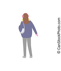 Standing Back Brunette Woman in Blue Jacket Vector