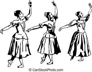 standing, ballerina, ragazza, atteggiarsi