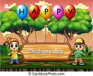 standing, bambini, bambini, felice, manifesto, giorno