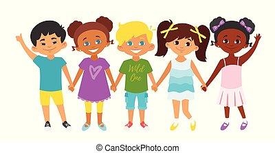 standing, bambini, fila