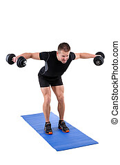 Standing Bent Over Dumbbell Reverse Fly Workout - Young man...
