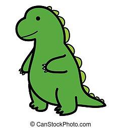 standing big green lizard