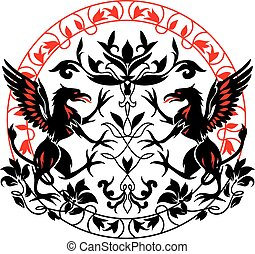 Standing Black Griffin with flower black and red silhouette