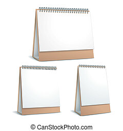 standing blank calendar set isolated on white background