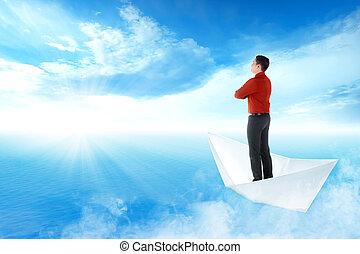 standing, blu, navigazione, oceano, carta, asiatico, uomo affari, barca, bello